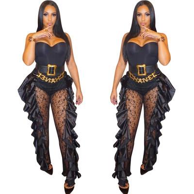 Sexy Women Lace Ruffle Long Slinky Pants ALS067