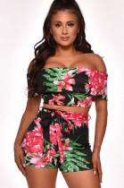 Floral Print Off Shoulder Layers Top & Self-tie Short Pants M1036