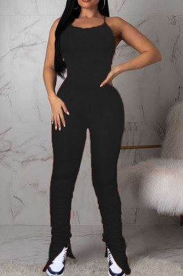 Black Sexy Polyester Short Sleeve Round Neck Spaghetti Strap Open Back Ruffle Cami Jumpsuit MN8303