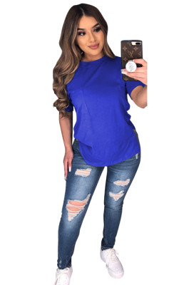 Blue Solid Longine Utility Blouse T-shirt CYF3558