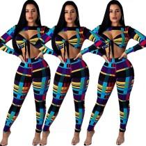 Sexy Colorful Print Skinny Sets E8165