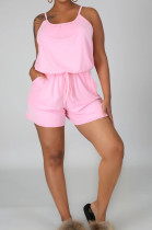 Pink Casual Polyester Sleeveless Round Neck Knotted Strap Cami Jumpsuit LML114