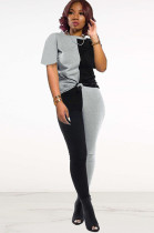 Two Tones Black&Gray Front Tied Pants Set DN8364