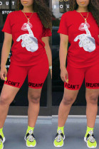 Red Casual Polyester Letter Short Sleeve Round Neck Tee Top Shorts Sets OX8061
