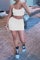 White Casual Polyester Sleeveless Strappy Crop Top Shorts Sets JC7018