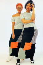 Gray Casual Striped Short Sleeve Round Neck Spliced Shift Dress SDD9252