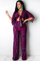 Purple Scarf Print Knotted Front Loose Wide Leg Jumpsuit KA7091