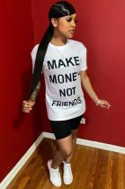 Slogan Front Print Shirt Top & Shorts Sets WY6684