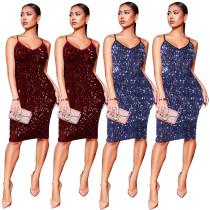 Strapy Glitter Sequins Midi Dresses Q189