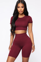 Red Crop Top & Mid Rise Sport Sets XZ3388