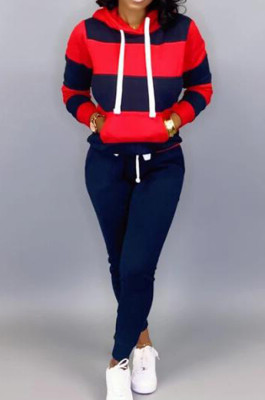 Navy Blue Casual Polyester Striped Long Sleeve Waist Tie Hoodie Long Pants Sets OMY5172