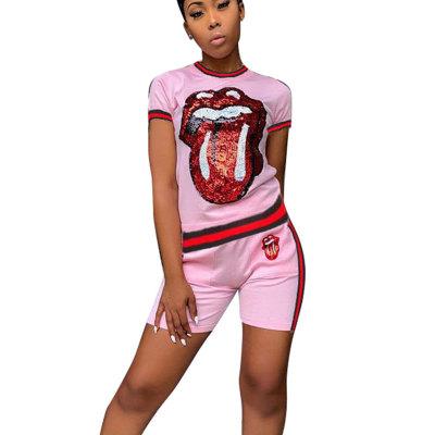 Pink Sequins Print T Shirts Midi Shorts Two Pieces Sets CM566