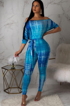 Blue Off Shoulder Latin Sleeve Self Knotted Bodycon Jumpsuit E8254