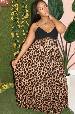 Brown leopard pattern ruffled details cami dress QQM3939
