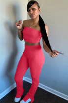 Red Simplee Polyester Bandeau Bra Top Jag Flare Leg Pants HR8100