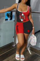 Red Black Casual Polyester Sleeveless Round Neck Tank Top Shorts Sets SH7186