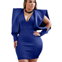 Royal Blue Office Ladies V Collar Solid Color Dew Arm Sleeves Wrap Dress YX9165