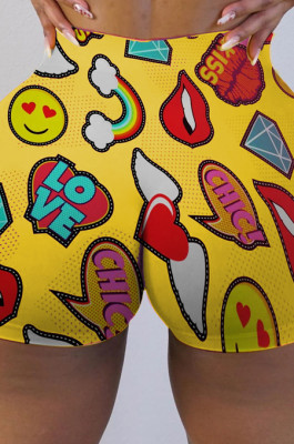Yellow Sexy Polyester All Over Print Low Waist Shorts RB3093