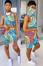 Multicolor Tied-dye Comic Front Print Shirt Crop Top & Shorts Sets QQM4019