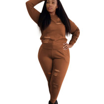 Brown Bodycon Women Scratch Pant Set with Long Sleeve OEP6076