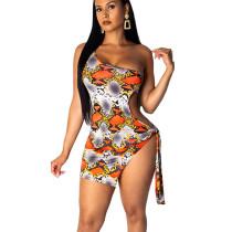 Orange Sexy One Shoulder Snake Print Mini Dress ML7197