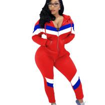 Red Stripe Patchwork Stylish Tracksuits Zipper Hoodie Skinny Pants AL069