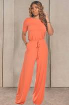 Orange Casual Cotton Short Sleeve Round Neck Drawstring Waist Tee Jumpsuit TRS1033