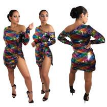 Off Shoulder Sequins Bling Bling Mini Dress ALS061