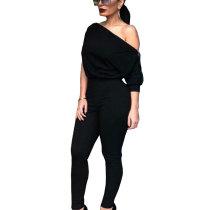 Black Slash Neck Solid Short Sleeves Bodycon Jumpsuits GL6118