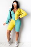 Colorblock Drawstring Waist Hoodie & Shorts Sets