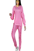 Pink Round Neck Stripes Print Blouse with Drop Sleeve & Frill Side Pants Set NK085