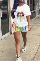 White Casual Polyester Mouth Graphic Short Sleeve Round Neck Tee Top Shorts Sets SDD9267