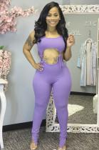 Light Purple Casual Polyester Sleeveless Round Neck Drawstring Waist Bodycon Jumpsuit CY1223