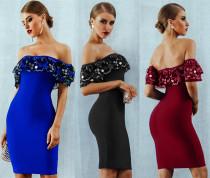 Elegant Bodycon Ruffle Strapless Pencil Dress LA3064