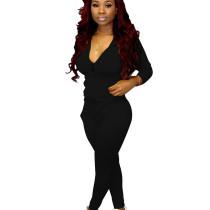 Black Outdoor Slim Bodycon Solid Outfits Zipper Coat Pencil Pants Q388