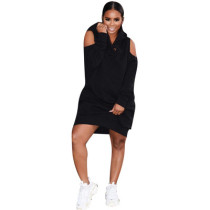Newest Cold-Shoulder Hooded Dress For Daily Wear DN8164