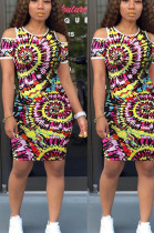 Multi Casual Polyester Short Sleeve Round Neck Shift Dress OMM1151
