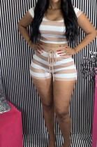Light Brown Casual Polyester Striped Short Sleeve Round Neck Waist Tie Hoodie Shorts Sets FA7111