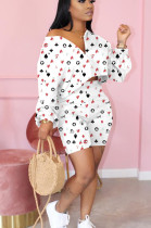 White Casual Polyester Long Sleeve Utility Blouse Shorts Sets OMY8067