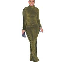 Women High Neck Two-Piece Stripe Splicing Metallic Printed Suits MA6294
