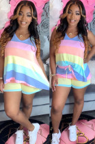 Light Yellow Casual Polyester Striped Sleeveless Round Neck Tank Top Shorts Sets ML7335