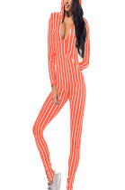 Orange & White Stripes V Neck Hoodie Jumpsuit Q416