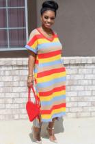 Red Casual Polyester Rainbow Stripe Short Sleeve V Neck Split Hem Shift Dress KZ111