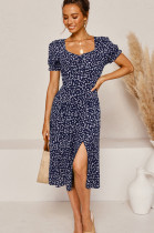 Navy Blue Simplee Ditsy Floral Woven Fabric Short Sleeve Square Neck High Waist Jag Midi Skirt NS5813