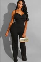 Black Solid Color Drawstring Cami Jumpsuit SH7135