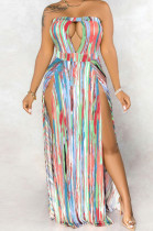 Multi Sexy Polyester Sleeveless Halterneck Hollow Out Tube Dress SMR9655