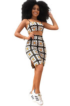 Plaid Spaghetti Crop Top & Side Split Ankle-length Skirt Sets YYZ806