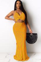 Orange Stripes Halter Front Hollow-out Long Dress AL084