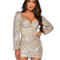 Winter Sparkle Glam Slim Bodycon High Waist Sequined Dress Q397