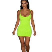 Green Pure Color Strappy Bodycon Mini Dress X9115
